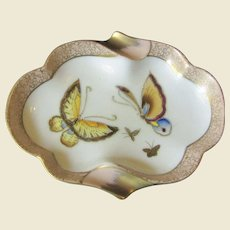 Vintage Andrea Ashtray W/ Hand Painted & Gilt Butterflies, Mint
