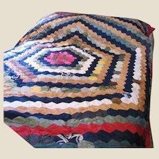 Antique Silk Patchwork Quilt, Beautiful, Rare, Fragile!