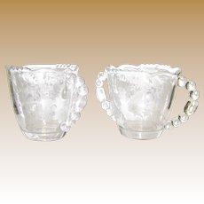 Cherokee Rose Creamer & Sugar Bowl by Tiffin-Franciscan, Etched, Elegant, Beaded, 1941 - 1966