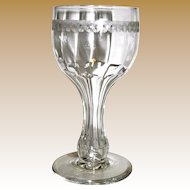 19th Century Antique Champagne / Wine Glass, Hollow Stem, Petal Cut Crystal, Mint