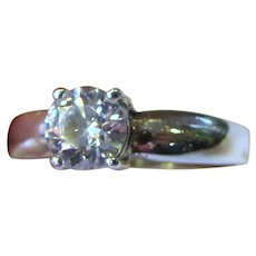 Sterling CZ Solitare Engagement Style Ring, Size 8, 3 Grams