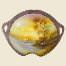 Noritake Small Landscape Dish w/ Handles, 1918, Beautiful