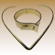Modernist Shiny Goldtone Clamper Bracelet & Necklace