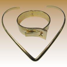 Modernist Shiny Goldtone Clamper Bracelet & Necklace