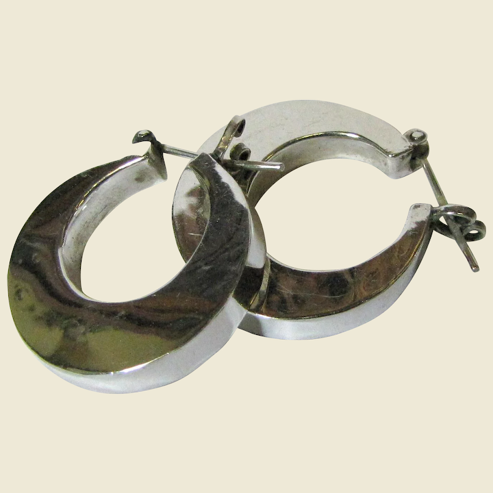 75d947a1c Thick Mexican Hand Made Sterling Hoop Earrings by HOB, 15 Grams. Click to  expand