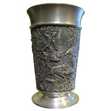 Vintage German Ornate Pewter Goblet Hunting Scenes: Boar, Duck and Stag