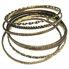 Seven 70's Textured Stacking Bangles, Boho, Cool!
