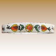1960's Flower Power Hand Painted Enamel Porcelain Bangle