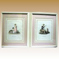 Vintage Pair of Georgian Style Prints of Children w/ Dog, Beautifully Matted & Framed