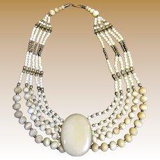 1970's Bold Tribal Bone & Brass Collar Necklace