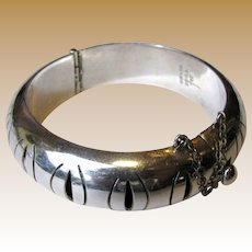 Heavy Taxco Sterling Pierced Hinged Bangle Bracelet, 48 Grams