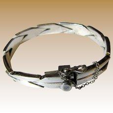 """Heavy Taxco Sterling Wheat Link Bracelet, 6 1/4"""", 34 Grams"""