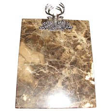 Elegant Marble Cheese Board With Cast Aluminum Stag Head