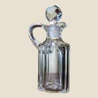 Antique Cut Lead Crystal Cruet w/ Prismatic Cut Stopper‏