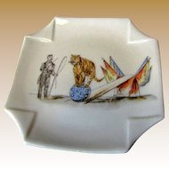 Child's Victorian Limoges Folded Handkerchief Plate, Circus Tiger Trainer