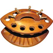 """Vintage Ships Wheel Tobacco Pipe Stand w/ Brass """"Handles"""""""