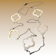 """Mother of Pearl, Freshwater Pearl & Crystal Bead 38"""" Necklace"""