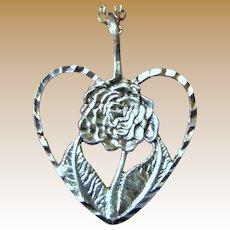 Delicate Sterling Rose Heart Pendant on Filigree Chain