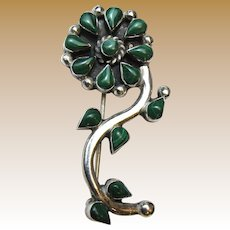 Taxco Sterling & Malachite Flower Pin,  6.4g