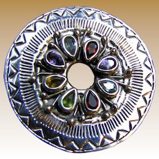 "Large 1 7/8"" Sterling Pendant set w/ 8 Colored Gemstones, 20 grams"