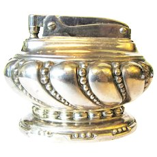 1950's Ronson Crown Silver Plated Table Lighter - U.S. Pat. RE No. 19023
