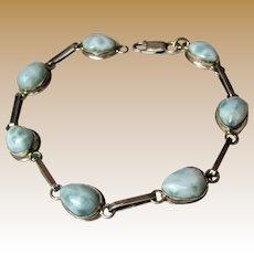 """Hand Made Larimar & Sterling Bracelet, 7 1/2 """", 12 Grams"""