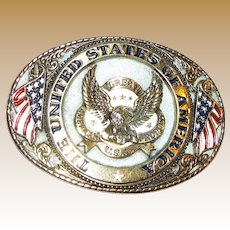 """Vintage Brass Belt Buckle """"Great American Products USA"""" & """"The United States Of America"""""""