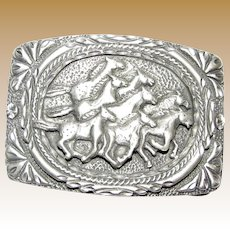 3D Herd of Horses Cowgirl Belt Buckle Made in USA