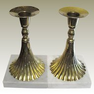Vintage Pair of Hollywood Regency Style Brass and Marble Candle Sticks, Made in Italy