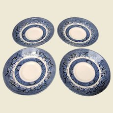 4 Churchill Blue Willow Replacement Saucers