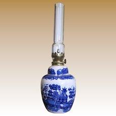 "11"" Blue Willow Oil Lamp, Mid Century Japan"