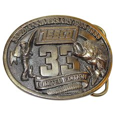 Zebco 33rd Anniversary Men's Brass Belt Buckle, Limited Edition 1955 - 1988, Made in USA