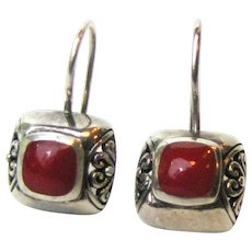 Sterling Filigree Pierced Earrings w/ Red Stone, 5 grams