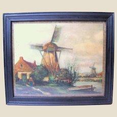 Small Vintage Print of a Dutch Landscape