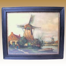 Small Vintage Print of a Dutch Landscape