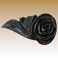 """Huge 2 1/2"""" Art Deco Noir Bakelite Deeply Carved Rose Dress Clip"""