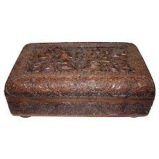 Exquisite Antique Hand Carved Kashmiri Sandalwood Box