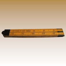 "Antique 24"" Folding Ruler by Stanley, Brass Fittings"