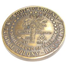 South Carolina Mason Masonic Coin 1776 -1976 Bicentennial, Brass