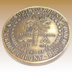 South Carolina Mason Masonic Coin 1776 -1976 Bicentennial, Brass