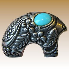 Carolyn Pollack Relios Sterling Turquoise Bear Pendant