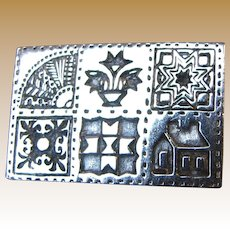 Sterling Brown County Silver Six Quilt Blocks Pin, 11 grams