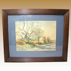 Charming Vintage Watercolor of Winter Trees