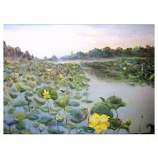Regional Impressionist Painting of Swamp Flowers, Roland McCollum