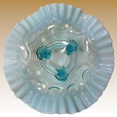 Northwood Opalescent Cable Bead Design Footed Bowl with Ruffle Rim