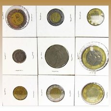 8 Mexican Coins and one from the Philippians 1985
