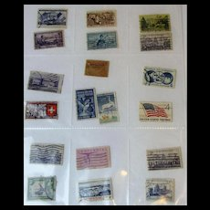 19 Different Used Postage Stamps - Mostly USA Mid-Century!