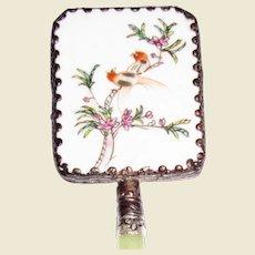Vintage Oriental Chinese Enameled Hand Mirror with Jade Handle