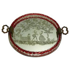 Barovier Engraved Mirrored Vanity Tray w/ Murano Glass Gallery, Near Mint