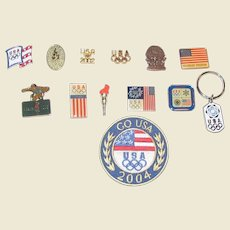 Vintage 11 Olympic Pins , Go USA Patch and USA Key Ring